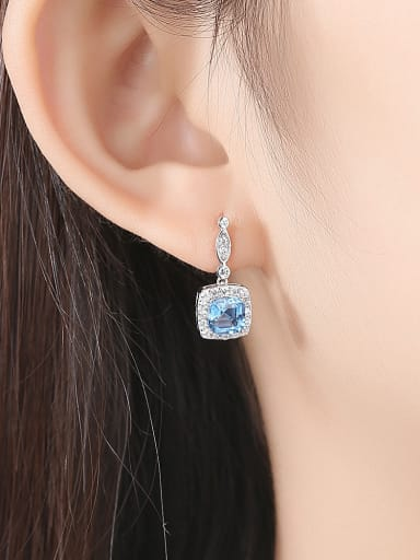 925 Sterling Silver With Platinum Plated Fashion Square Drop Earrings
