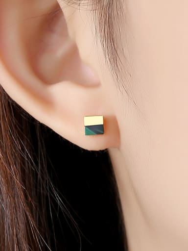 925 Sterling Silver With Acrylic  Simplistic Square Stud Earrings