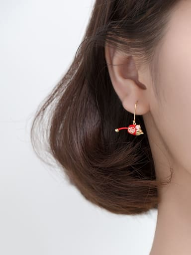 925 Sterling Silver With Gold Plated Cute Mouse Hook Earrings