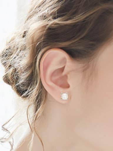 Simple Flowery Freshwater Pearl Stud Earrings