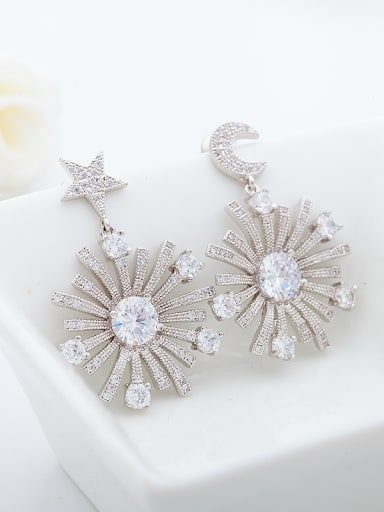 Copper With Platinum Plated Exaggerated Stars moon sun flower Chandelier Earrings