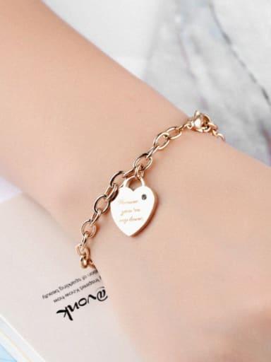 Simple Heart Titanium Women Bracelet