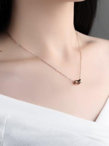 Simple Three Little Ring Black Rhinestones Titanium Necklace