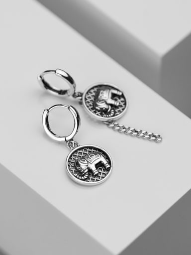 925 Sterling Silver With Antique Silver Plated Vintage Round Mesh Elephant Earrings