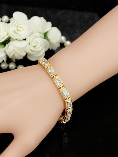 Simple Style Copper Shining Zircons AAA Bracelet