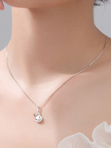 925 Sterling Silver With Platinum Plated Cute Rabbit Necklaces