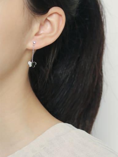 925 Sterling Silver With Rhinestone Cute Asymmetrical butterfly  Earrings