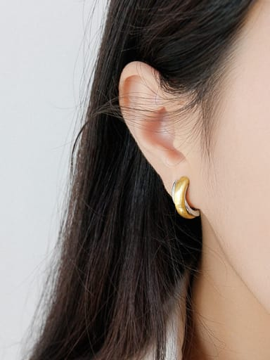 925 Sterling Silver With Two-color plating Simple  Geometric Semicircle  Stud Earrings