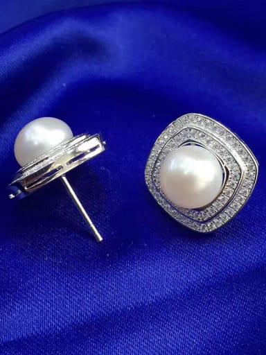 Freshwater Pearl Square Zircon stud Earring
