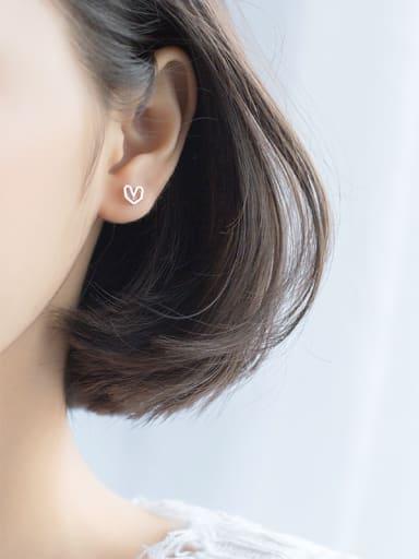 Lovely Heart Shaped S925 Silver Stud Earrings