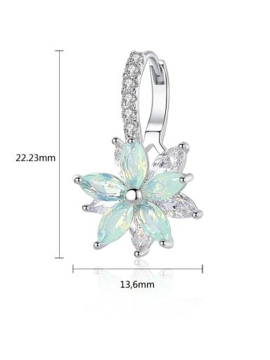 3A zircon multicolor flower studs