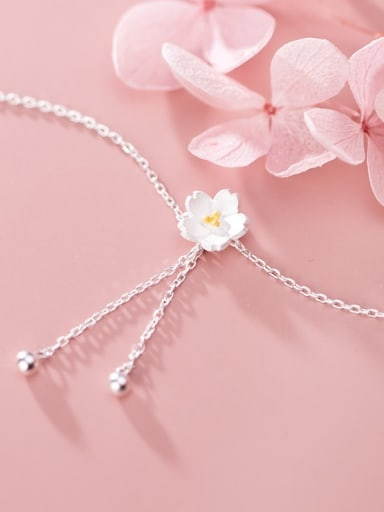 925 Sterling Silver With Platinum Plated Simplistic Flower Bracelets