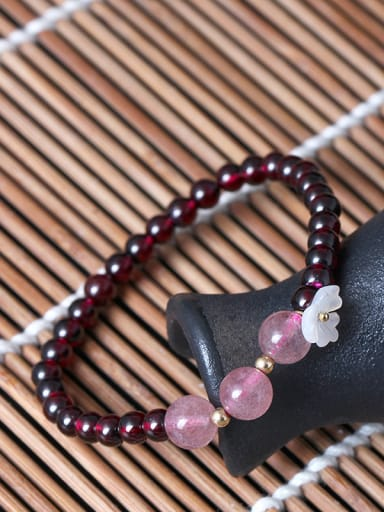 Natural Garnet Shell Flower bracelet