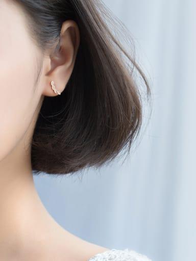 All-match Leaf Shaped Rose Gold Plated Rhinestone Stud Earrings