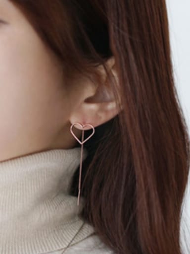 Simple Hollow Heart Silver Line Earrings