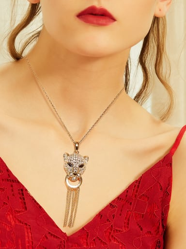 Personalized Swarovski Crystals Leopard Head Tassels Necklace