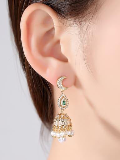 Copper inlaid AAA cubic zirconia Statement Chandelier Earrings