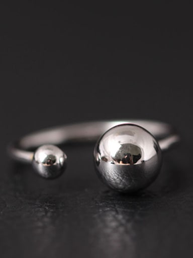Simple Bead Opening Silver Ring