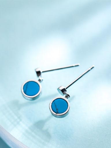 Fashion Round Shaped Blue Stone S925 Silver Drop Earrings