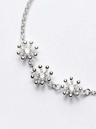 Fashionable Adjustable Flower Shaped S925 Silver Rhinestones Bracelet