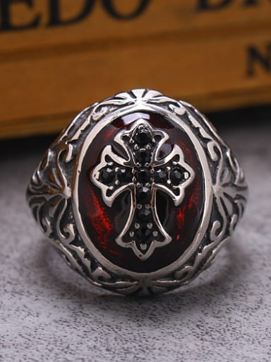 Glue Titanium Cross Statement Ring
