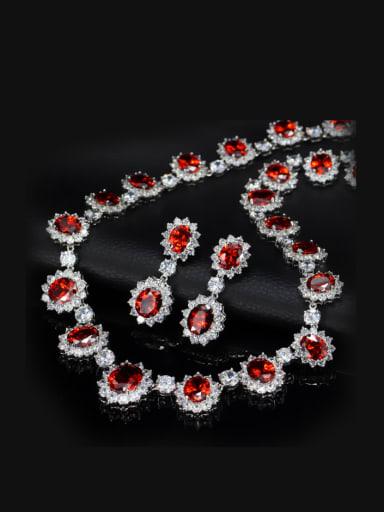 Oval Semi-precious Stones Two Pieces Jewelry Set