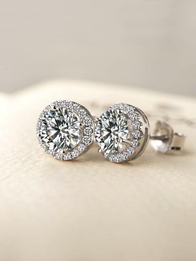 Simple micro-inlay AAA zircons stud Earrings