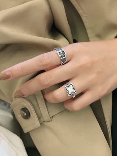 925 Sterling Silver With  Vintage Vintage Beaded Belt Buckle  Midi Rings
