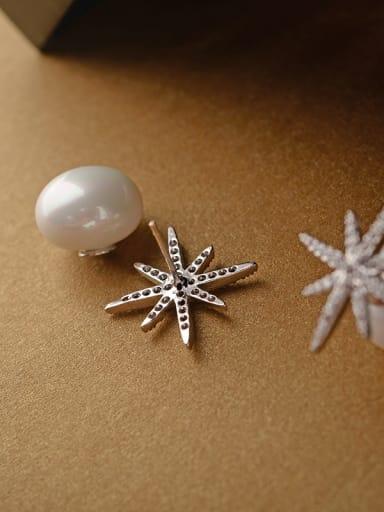 Micro-inlaid zircon snowflake stars Imitation pearls  earrings