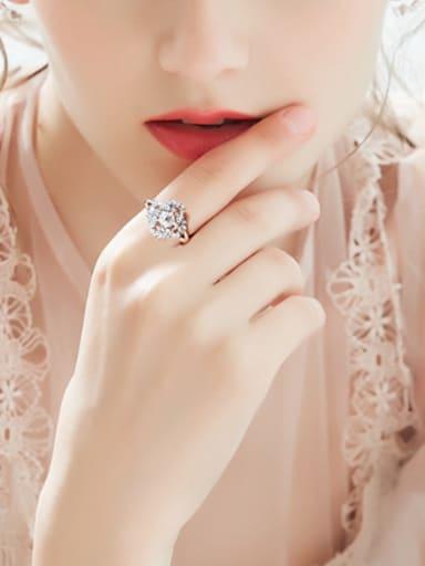 Exaggerated Zircon Platinum Plated Women Ring