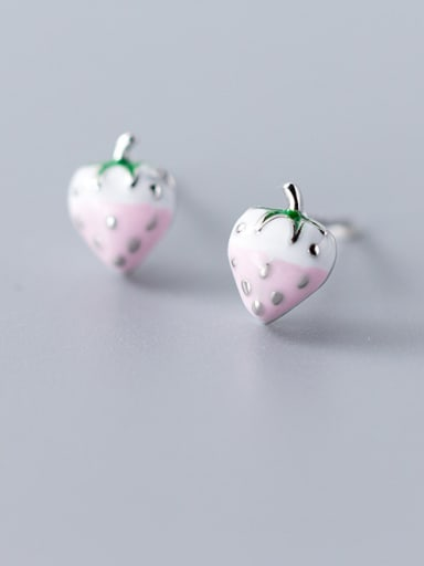 925 Sterling Silver With Rose Gold Plated Cute Friut Strawberry Stud Earrings