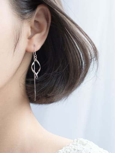 Elegant Wave Shaped S925 Silver Line Earrings