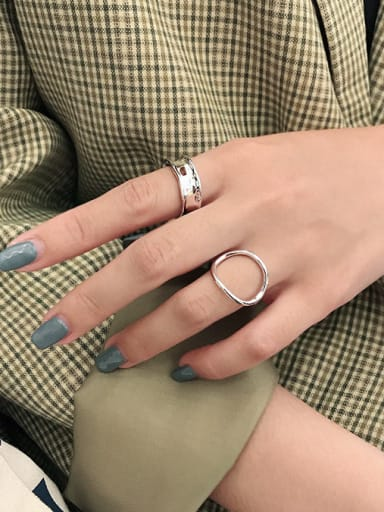 925 Sterling Silver With Gold Plated Simplistic  Hollow Geometric Free Size Rings