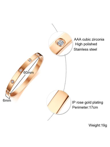 Fashionable Rose Gold Plated Titanium Rhinestone Bangle