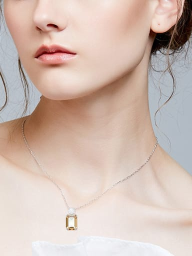 Fashion Yellow Swarovski Crystal-accented 925 Silver Necklace