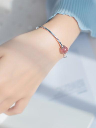 Fresh Pink Round Shaped Crystal S925 Silver Bracelet