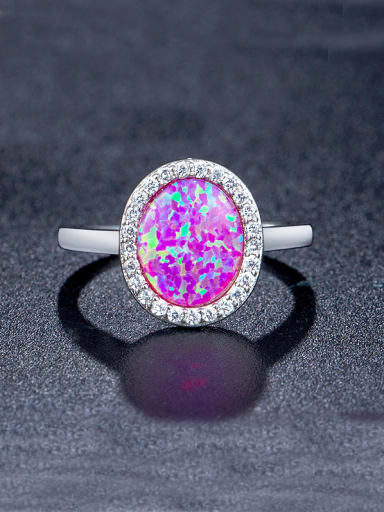 Pink Round-shaped Engagement Ring