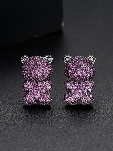 Copper With Cubic Zirconia  Fashion Animal Bear Cluster Earrings