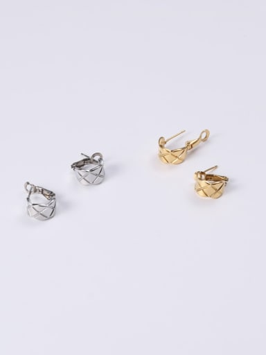 Titanium With Gold Plated Personality Geometric Stud Earrings
