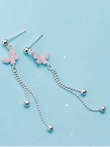 925 Sterling Silver With Cubic Zirconia Fashion Bowknot Drop Earrings