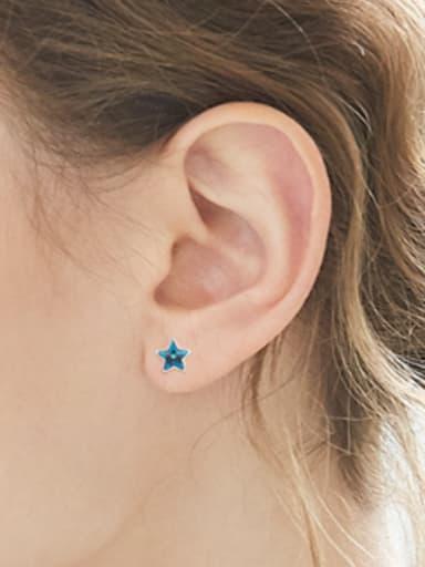 Tiny Star Swarovski Crystal 925 Silver Stud Earrings