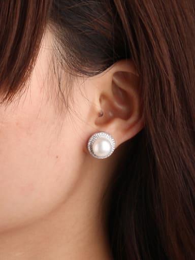 Freshwater Pearl Zircon Round stud Earring