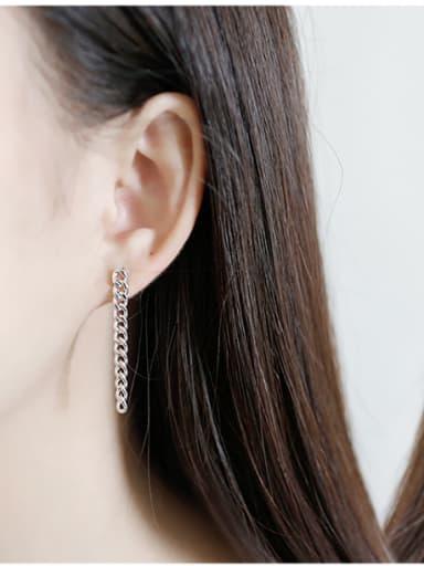 Sterling Silver retro style personality chain asymmetric Earrings