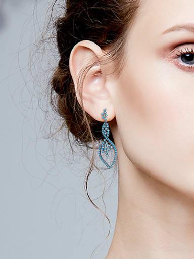 Retro style Tiny Turquoise Stones Hollow Copper Stud Earrings