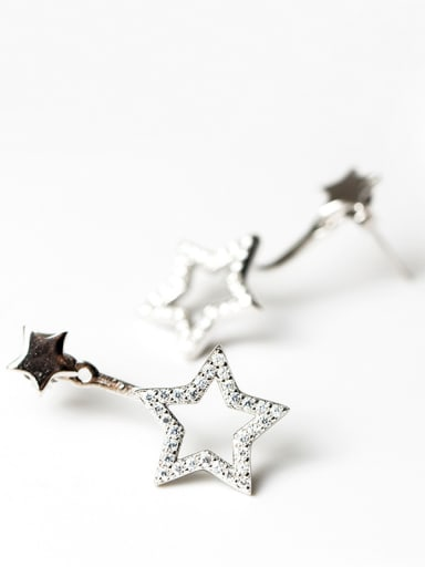 Fashion Shiny Zirconias-studded Stars 925 Silver Stud Earrings
