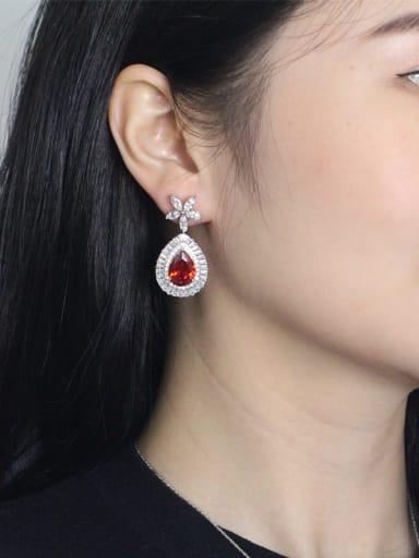 Platinum Plated AAA Zircons Drop Cluster earring