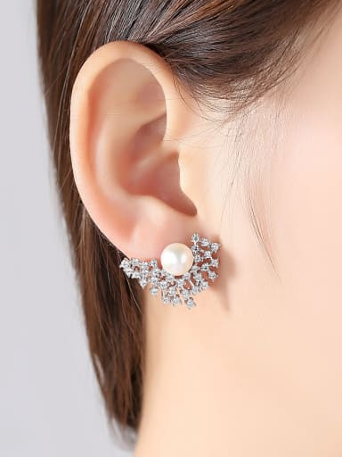Sterling silver set with 3A zircon natural pearl stud earrings