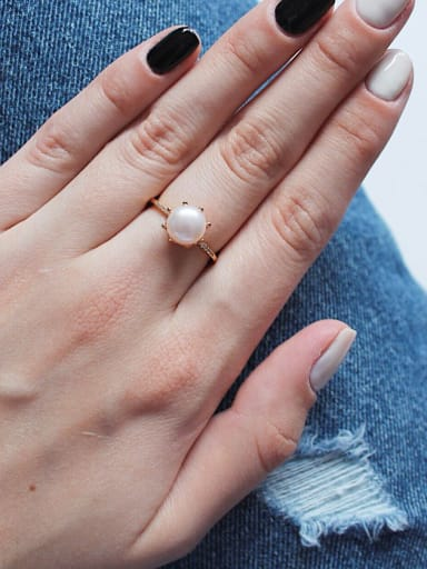 Sterling silver natural pearl free size ring (three colors optional)