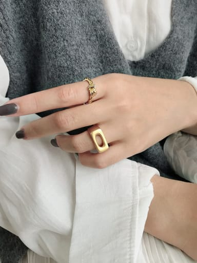925 Sterling Silver With Smooth Simplistic Hollow Geometric Free Size  Rings