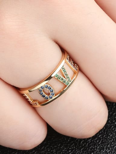Copper With Cubic Zirconia Fashion Monogrammed LOVE Multistone Rings